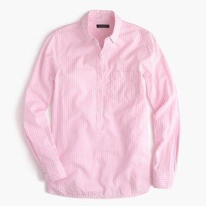 J. Crew Popover Shirt in Pink Stripes